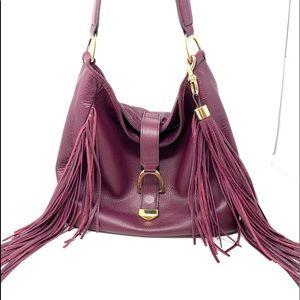 GILI leather fringe hobo burgundy bag